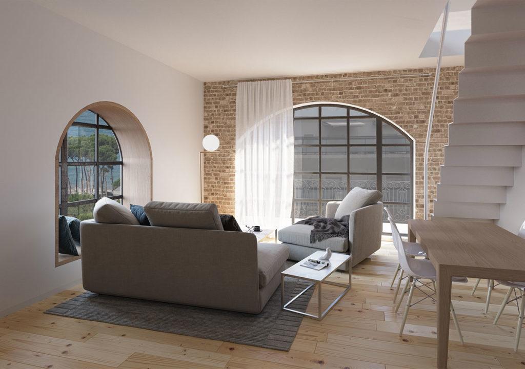 design architettonico sala loft con scalinata